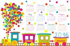 calendrier 2016 avec le train de bande dessinée pour des enfants Photographie stock libre de droits