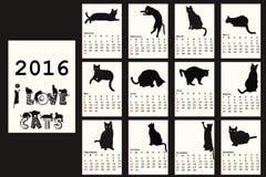 Calendrier 2016 avec les chats noirs illustration libre de droits