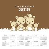 Calendrier 2019 avec les kangourous mignons illustration de vecteur