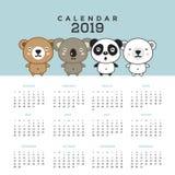 Calendrier 2019 avec les ours mignons Illustration tirée par la main de vecteur illustration libre de droits