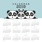 Calendrier 2019 avec les pandas mignons illustration de vecteur