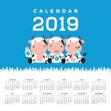 Calendrier 2019 avec les vaches mignonnes Illustration tirée par la main de vecteur illustration de vecteur