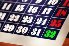 Calendrier avec trente-deux jours Photographie stock libre de droits