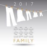 calendrier 2017 avec un concept de la famille Photo libre de droits