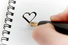 Calendrier avec un crayon lecteur image stock