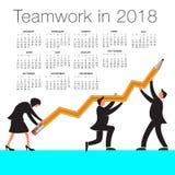 Calendrier 2018 avec un graphique de travail d'équipe Photographie stock libre de droits