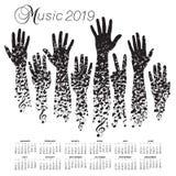 calendrier 2019 avec un homme fait de notes musicales illustration stock