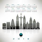 calendrier 2018 avec un paysage urbain stylisé Images libres de droits