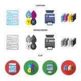 Calendrier, baisses de peinture, cartouche, imprimante multifonctionnelle Icônes réglées de collection de typographie dans la ban Photographie stock libre de droits