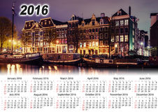 Calendrier 2016 Belle nuit à Amsterdam illumination Image stock