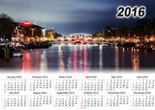 Calendrier 2016 Belle nuit à Amsterdam illumination illustration stock