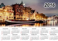 Calendrier 2016 Belle nuit à Amsterdam illumination Photo libre de droits