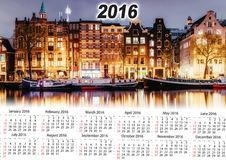 Calendrier 2016 Belle nuit à Amsterdam illumination Images stock