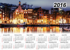 Calendrier 2016 Belle nuit à Amsterdam illumination Photos stock