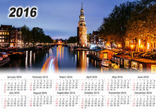Calendrier 2016 Belle nuit à Amsterdam illumination Photos libres de droits