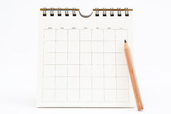 Calendrier blanc d'isolement sur le blanc Photos stock