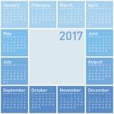 Calendrier bleu pendant l'année 2017 Images libres de droits