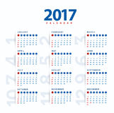calendrier 2017 Calendrier moderne et simple 2017 Photo stock
