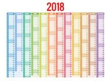 calendrier 2018 Calibre d'impression La semaine commence dimanche Orientation de portrait Ensemble de 12 mois Planificateur penda Photographie stock libre de droits