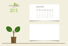 2015 calendrier, calibre mensuel de calendrier pour janvier Image libre de droits