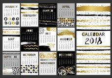 Calendrier calligraphique tiré par la main 2018 de charme créatif de mode Dirigez la collection de noir, blanche, les cartes text Photo stock