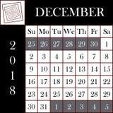 Calendrier carré DÉCEMBRE du format 2018 Photographie stock