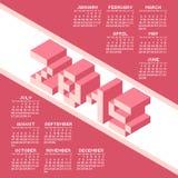 Calendrier carré de l'année 2015 de style de pixel Image libre de droits