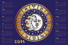 Calendrier 2016 Cercle d'horoscope de connexion de zodiaque illustration de vecteur