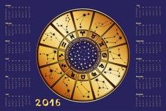 Calendrier 2016 Cercle d'horoscope zodiaque des symboles douze de signe de conception de dessin-modèles divers illustration de vecteur
