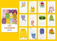 Calendrier 2016 Chats mignons pour tous les mois illustration de vecteur
