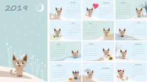 Calendrier 2019 Chats mignons pour tous les mois Vecteur illustration de vecteur