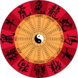 Calendrier chinois avec des hiéroglyphes Photos libres de droits