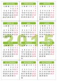 Calendrier 7 x 10 cm - langue de 2015 poches de Roumain de 2,76 x 3,95 pouces Photo libre de droits