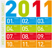 Calendrier coloré 2011 Images libres de droits