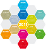 Calendrier coloré 2011 d'hexagones Photo stock