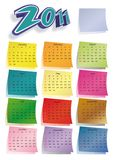 Calendrier coloré 2011 de post-it Photographie stock