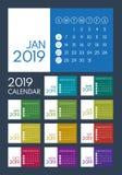 Calendrier coloré 2019, débuts dimanche illustration de vecteur