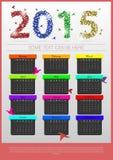 Calendrier coloré d'origami 2015 ans calibre de bannière Vecteur Photos libres de droits