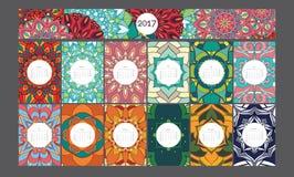Calendrier coloré lumineux du mandala 2017 de vecteur Photographie stock libre de droits