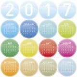 Calendrier coloré pendant l'année 2017 Images stock