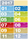 Calendrier coloré pendant l'année 2017 Photo stock
