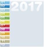 Calendrier coloré pendant l'année 2017, Photos libres de droits