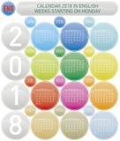 Calendrier coloré pendant l'année 2018, en anglais Images stock