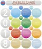 Calendrier coloré pendant l'année 2018, en anglais Photographie stock