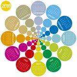 Calendrier coloré pour 2018 Conception circulaire Photographie stock libre de droits