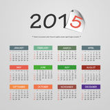 Calendrier 2015 - conception d'illustration de vecteur Photos libres de droits