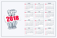 Calendrier créatif avec le chien bleu tiré pendant l'année 2018 de mur Photo libre de droits