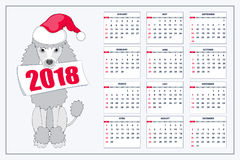 Calendrier créatif avec le chien de jouet tiré pendant l'année 2018 de mur Photo stock