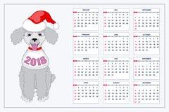 Calendrier créatif avec le chien de jouet tiré pendant l'année 2018 de mur Photo libre de droits