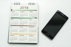Calendrier créatif de la conception 2018 avec le smartphone pour le plani Image libre de droits